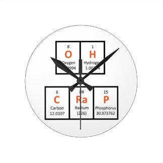 Oh reloj de pared de la tabla periódica de la mier