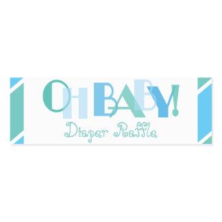 Oh rifa moderna azul del pañal del bebé tarjetas de visita mini