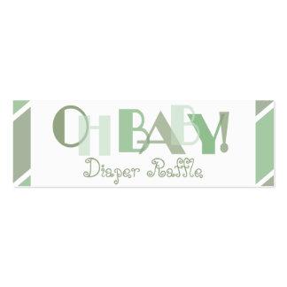 Oh rifa moderna verde del pañal del bebé tarjetas de visita mini