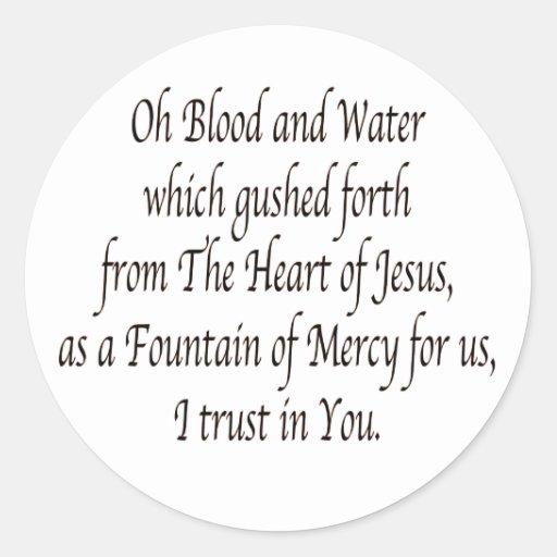 Oh sangre y agua - St. Faustina Pegatina Redonda