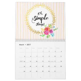 Oh, Simple Things! Calendar