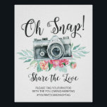 "Oh Snap Camera Hashtag Wedding Sign<br><div class=""desc"">Oh Snap Hashtag Wedding Sign featuring a modern font with a gray camera with floral accents.  Easy to change the size &amp; customize with your information.  Change the background color by using our color picker.</div>"