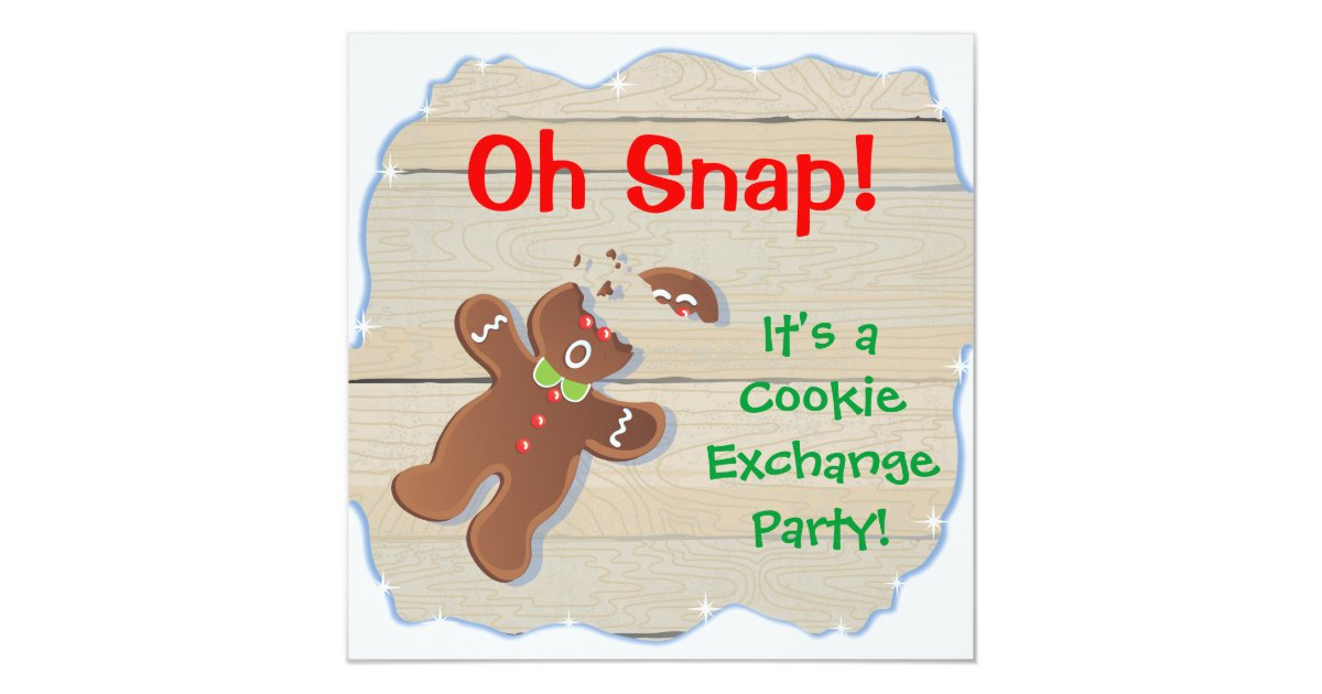 Oh Snap Christmas Cookie Exchange Party Invitation | Zazzle.com