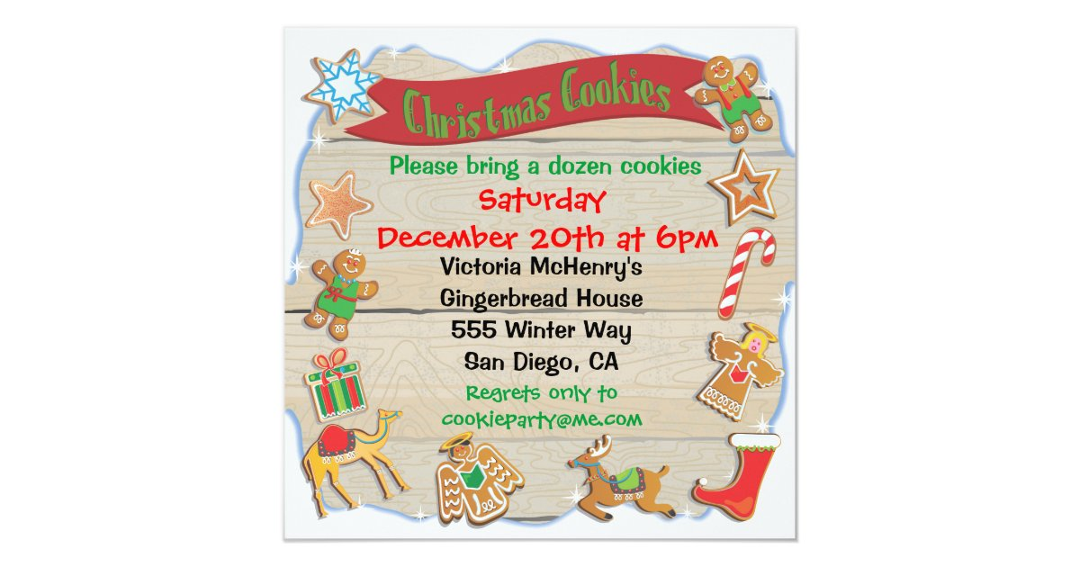 Oh Snap Christmas Cookie Exchange Party Invitation – Christmas Cookie Party Invitations