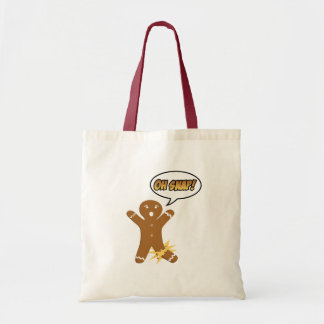 Oh Snap Funny Christmas Gingerbread Man Canvas Bags