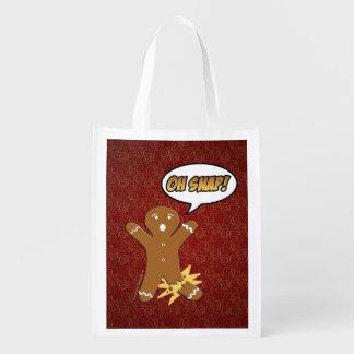 Oh Snap Funny Christmas Gingerbread Man Broken Leg Grocery Bag