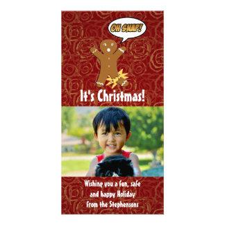 Oh Snap Funny Christmas Gingerbread Man Broken Leg Photo Card
