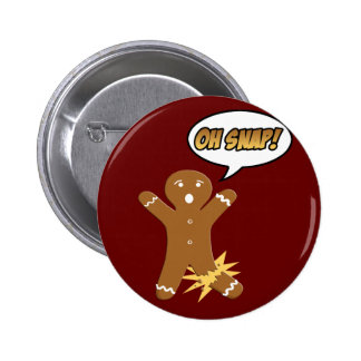 Oh Snap! Funny Christmas Gingerbread Man Button