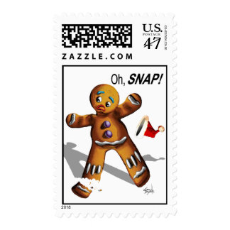 Oh Snap! Funny Gingerbread Man Cookie Christmas Postage