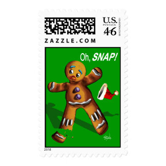 Oh Snap Funny Gingerbread Man Cookie Christmas Postage Stamp