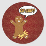 Oh Snap! Funny Gingerbread Man Sticker