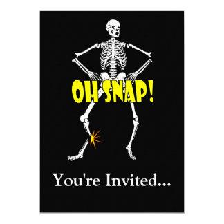 "Oh Snap, Funny Skeleton Halloween 5"" X 7"" Invitation Card"