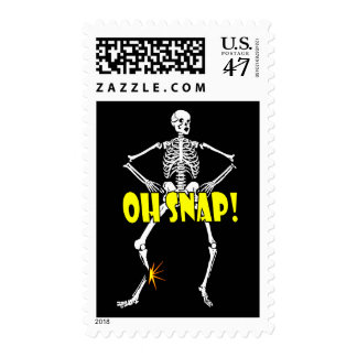 Oh Snap, Funny Skeleton Halloween Postage