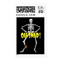 Oh Snap, Funny Skeleton Halloween Postage