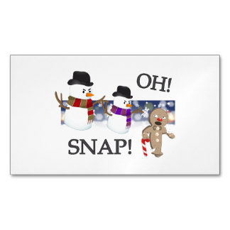 Oh Snap Gingerbread Man Magnetic Business Card