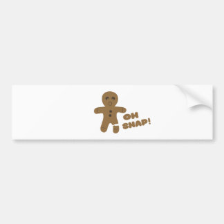 oh snap, gingerbread man, merry christmas bumper sticker