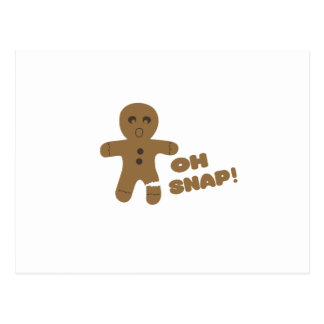 oh snap, gingerbread man, merry christmas postcards