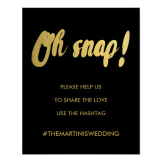 OH SNAP hashtag gold glam sign | editable color