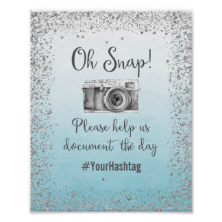 Oh Snap Hashtag Wedding Poster Print