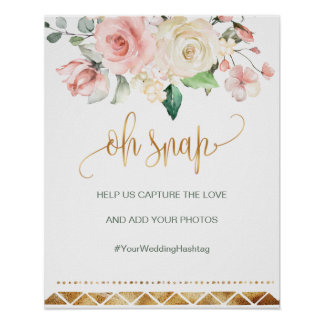 Oh Snap Hashtag Wedding sign apricot pink roses