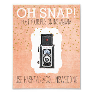 Oh Snap Instagram Coral Gold Hashtag Poster Photo Print