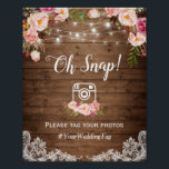 "Oh Snap Instagram Hashtag Rustic Country Floral Poster<br><div class=""desc"">Oh Snap Instagram Hashtag Rustic Country Floral 
