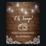 "Oh Snap Instagram Hashtag Rustic Mason Jar Lights Poster<br><div class=""desc"">Oh Snap Instagram Hashtag Rustic Mason Jar Lights 