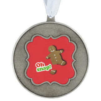 Oh Snap Scalloped Pewter Ornament