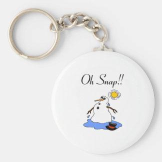 Oh Snap! (Melting Snowman) Basic Round Button Keychain