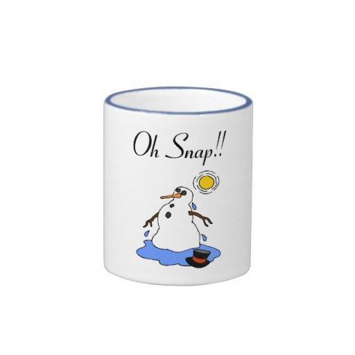 Oh Snap! (Melting Snowman) Ringer Coffee Mug