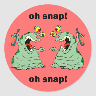oh snap oh snap classic round sticker