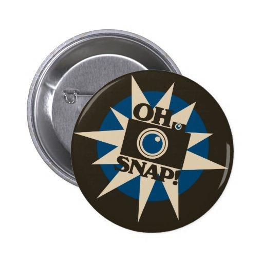 Oh Snap Retro Camera Pinback Button