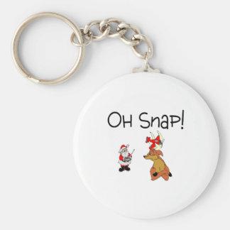Oh Snap Santa Reindeer Basic Round Button Keychain