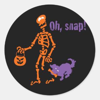 Oh, Snap Skeleton Classic Round Sticker