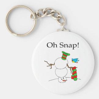 Oh Snap Snowman Basic Round Button Keychain