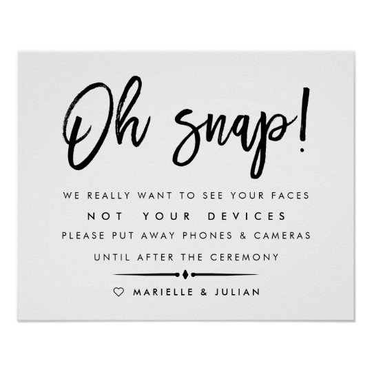 oh snap unplugged ceremony wedding poster 2 zazzle com