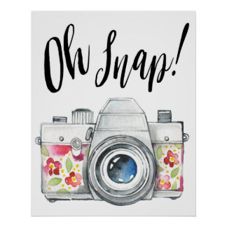 Oh Snap Watercolor Camera Illustration Poster
