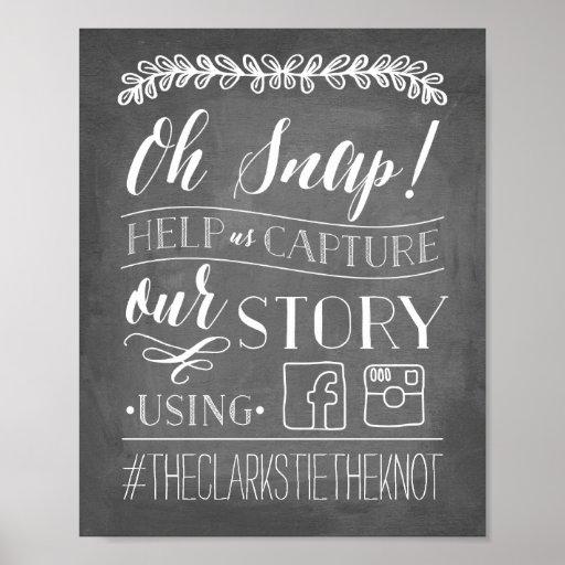 Oh Snap! Wedding Hashtag Sign