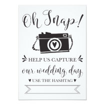 Oh Snap Wedding Hashtag Sign Invitation