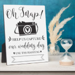 """Oh Snap Wedding Hashtag Sign Plaque<br><div class=""""desc"""">Fun and modern wedding reception sign! Write in your hashtag so your guests can share their photos of your special day!!</div>"""