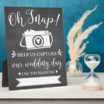 "Oh Snap Wedding Hashtag Sign Plaque<br><div class=""desc"">Fun and modern wedding reception sign! Write in your hashtag so your guests can share their photos of your special day!!</div>"