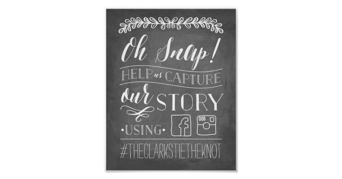 Oh snap wedding hashtag sign poster zazzle for Office design hashtags