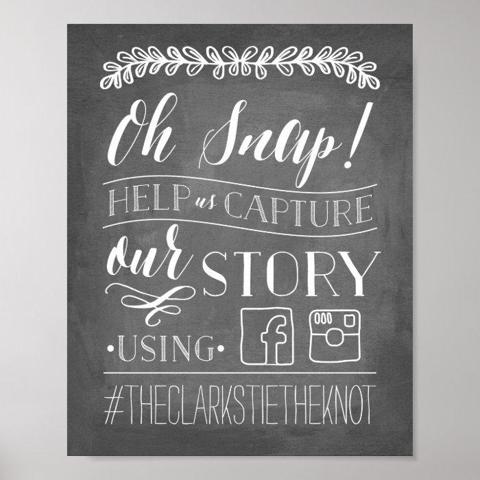 Hashtag Wedding: Wedding Hashtag Sign Poster