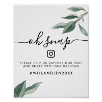 Oh Snap Wedding Hashtag Sign | Watercolor Leaves