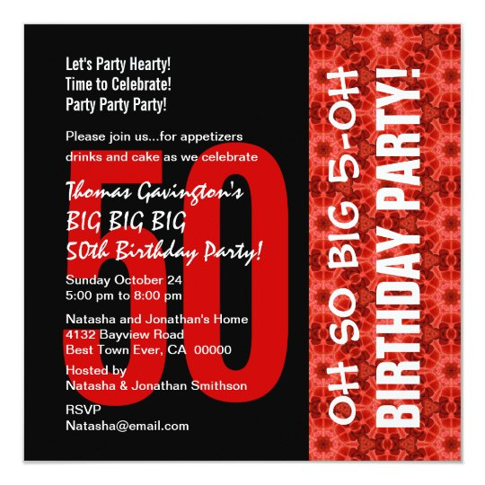 Oh So Big 50th Birthday Black and Red Pattern Card