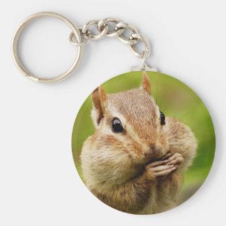 Oh So Cheeky Chipmunk Basic Round Button Keychain