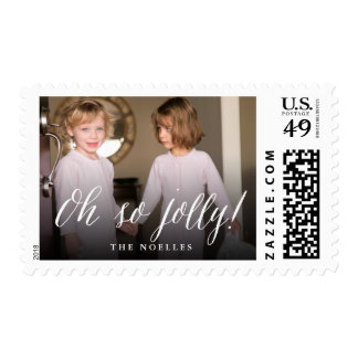 Oh So Jolly Fun Simple Script Holiday Photo Stamps
