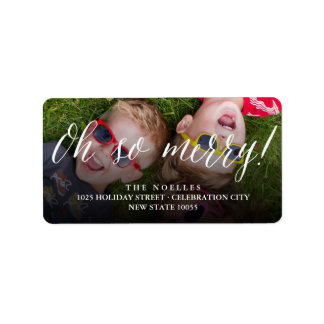 Oh So Merry Script Holiday Photo Address Labels