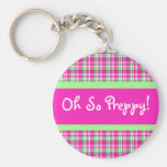 Oh So Preppy! PInk and Green Plaid Keychain