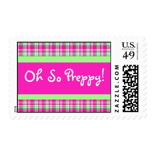 Oh So Preppy! Pink and Green Plaid Postage Stamp